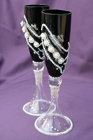 Hand decorated Black Champagne Flutes