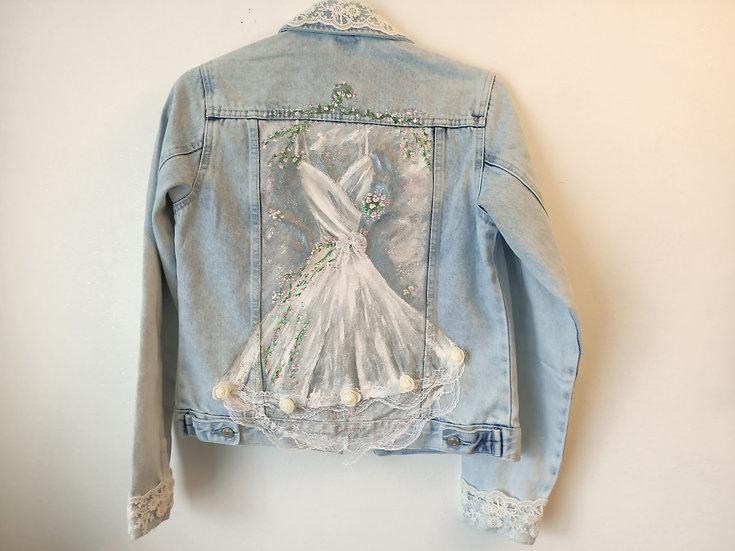 Custom Hand Painted Bridal Art Denim Jacket - Optional Lace
