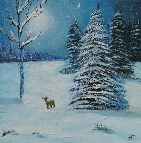 "Original hand painting artwork - ""Deer playing in the snow"""