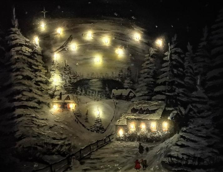 Light up Christmas scene print