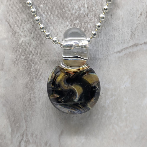 Black and Yellow Gold Disk Shaped Glass Pendant