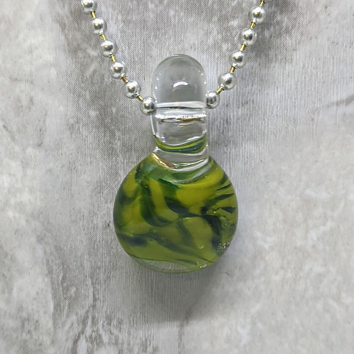 Green Disk Shaped Glass Pendant