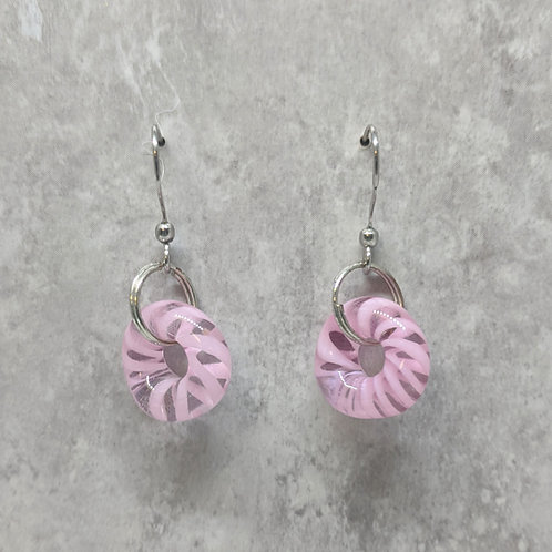 Pink Glass Hoop Earrings