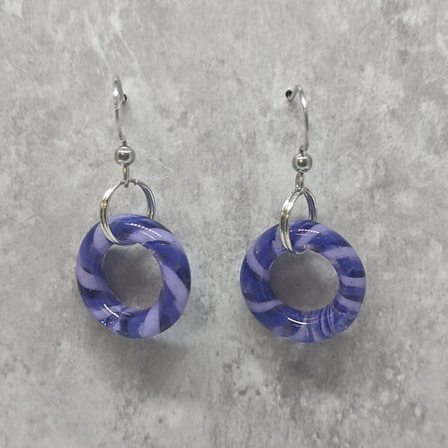 Purple Glass Hoop Earrings