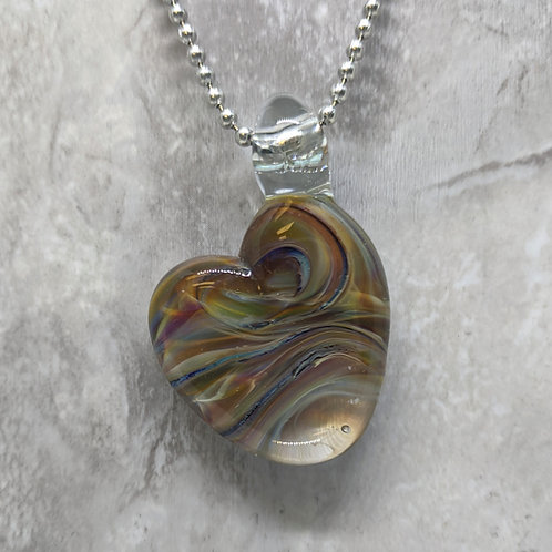 Multi Colored Heart Shaped Glass Pendant