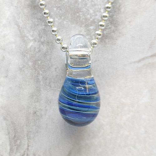 Blue Striped Teardrop Shaped Glass Pendant