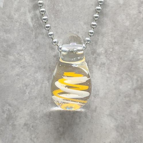 Yellow and White Swirl Teardrop Shaped Glass Pendant