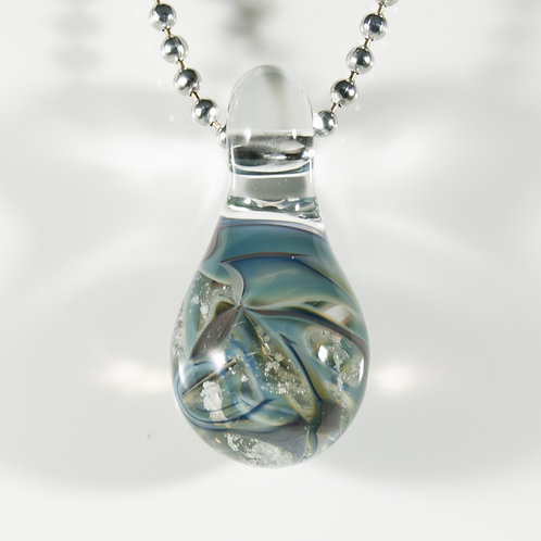 (Members) Blue Teardrop Memorial Glass Pendant