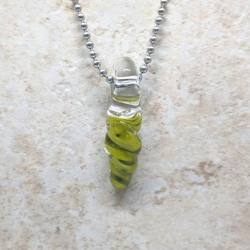 Green Twist Shaped Glass Pendant