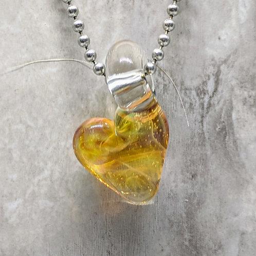 Yellow Heart Shaped Glass Pendant