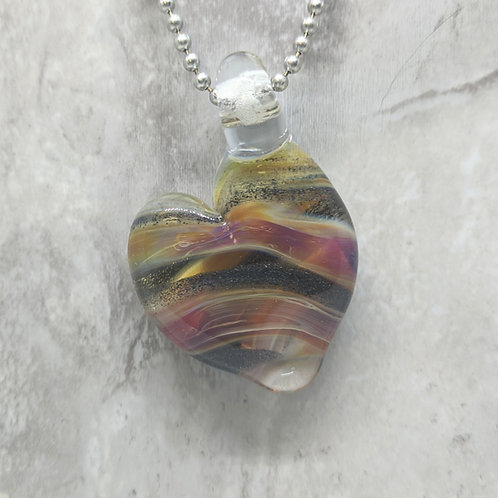 Purple and Silver Sparkle Heart Shaped Glass Pendant