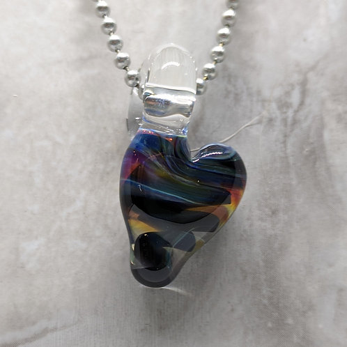 Black and Multi Colored Heart Shaped Glass Pendant