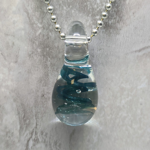 Dark Blue Teardrop Shaped Glass Pendant