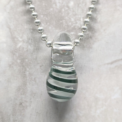 Dark Sparkling Blue and White Striped Teardrop Shaped Glass Pendant