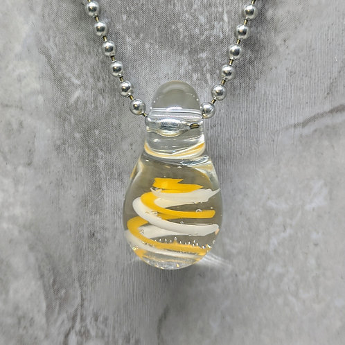 Yellow and White Swirl Teardrop Shaped Glass Pendant