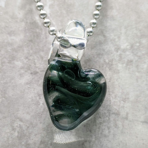 Sparkling Dark Blue Heart Shaped Glass Pendant