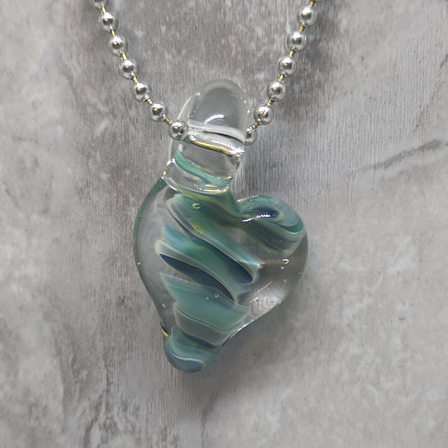 Blue Heart Shaped Glass Pendant