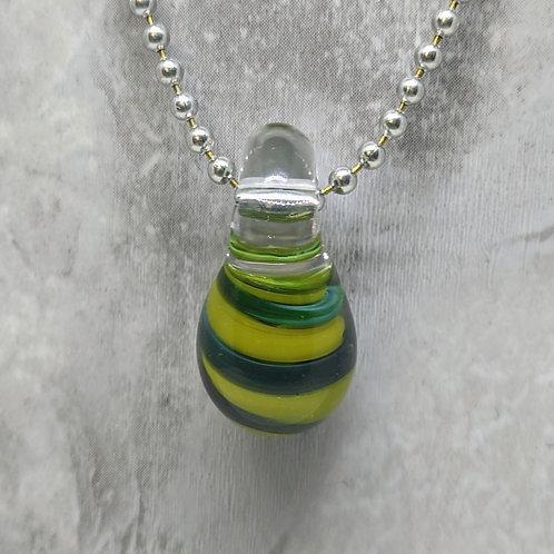 Green Striped Teardrop Shaped Glass Pendant