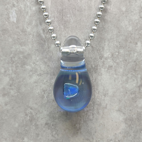 Blue Glass Pendant with Encased Blue Opal Stone