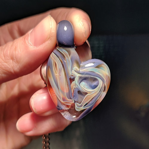 Purple and Gold Heart Shaped Glass Pendant
