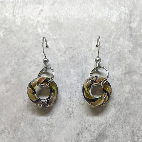 Black and Gold Glass Hoop Earrings