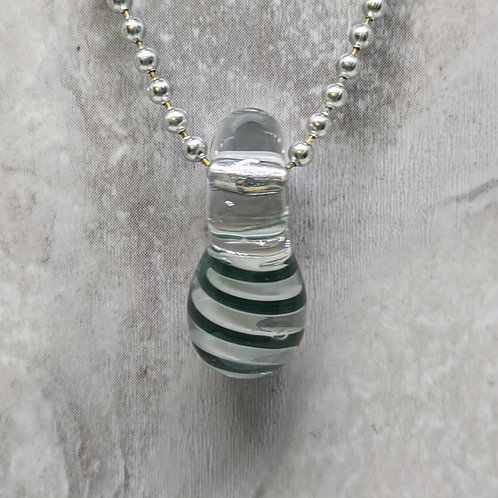 Dark Blue and White Striped Teardrop Shaped Glass Pendant