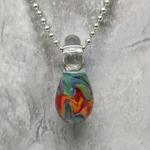 Rainbow Teardrop Shaped Glass Pendant