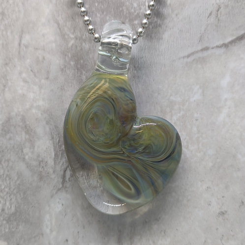 Blue Green Heart Shaped Glass Pendant