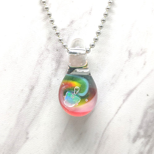 Rainbow Glass Pendant with Encased Opal Stone