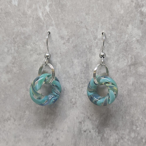 Teal Glass Hoop Earrings