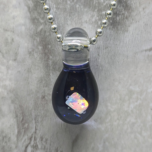 Dark Purple Glass Pendant with Encased Opal Stone