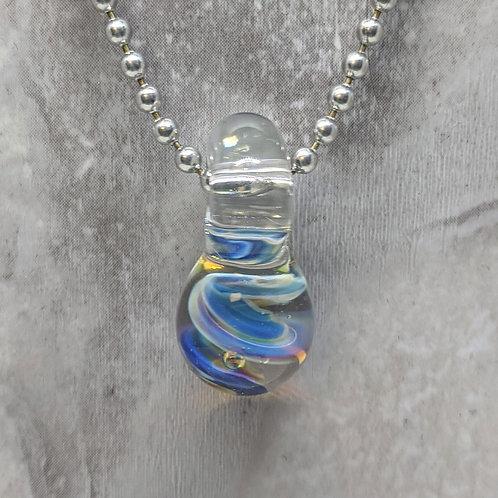 Encased Blue Swirl Teardrop Shaped Glass Pendant