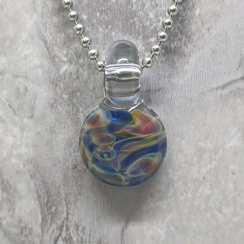 Blue Purple and Yellow Disk Shaped Glass Pendant