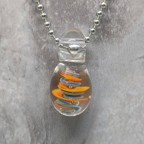 Encased Blue and Orange Teardrop Shaped Glass Pendant