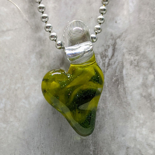 Sparkling Green Heart Shaped Glass Pendant