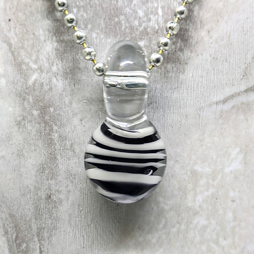 Black and White Disk Shaped Glass Pendant
