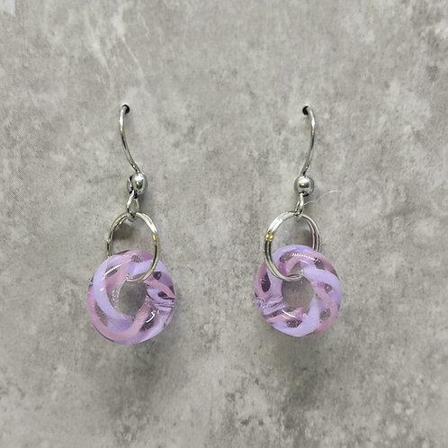 Lavender Glass Hoop Earrings