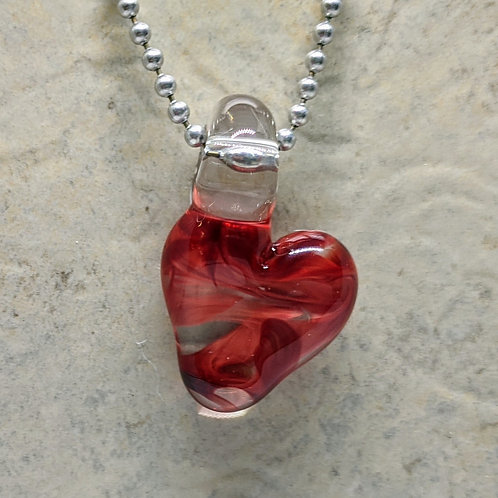 Red Heart Shaped Glass Pendant