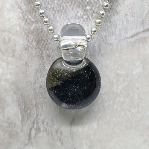 Sparkling Black Disk Shaped Glass Pendant