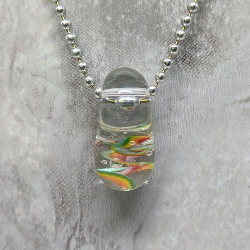 Encased Rainbow Teardrop Shaped Glass Pendant