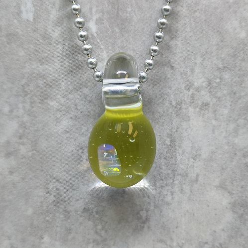 Green Glass Pendant with Encased Opal Stone