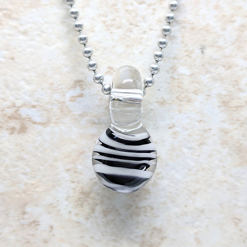 Black and White Striped Disk Shaped Glass Pendant