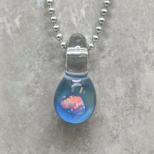 Blue Glass Pendant with Encased Opal Stone