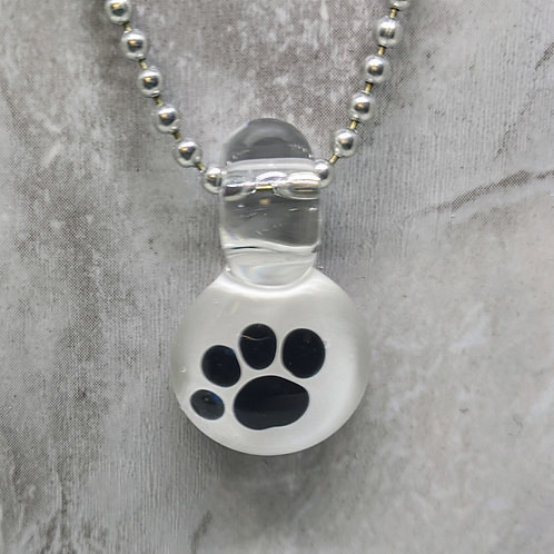 Glass Paw Print Pendant on White