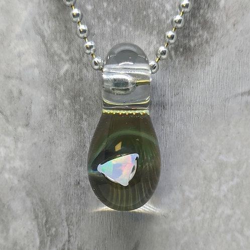 Dark Green Glass Pendant with Encased Opal Stone