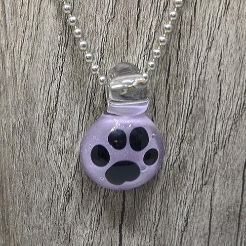Glass Paw Print Pendant on Lavender