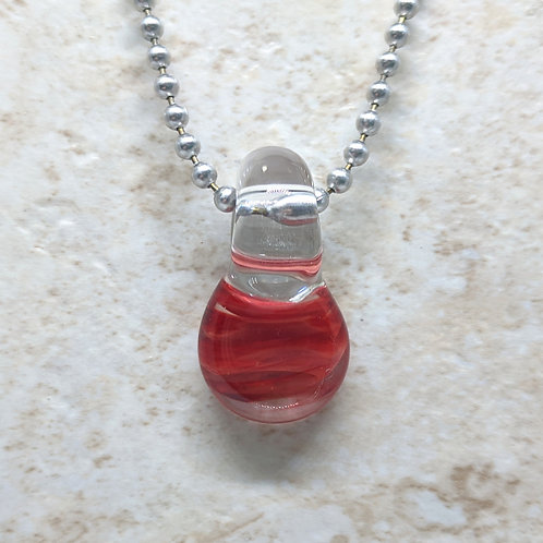 Red Disk Shaped Glass Pendant