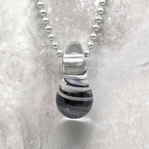 Black and White Striped Teardrop Shaped Glass Pendant