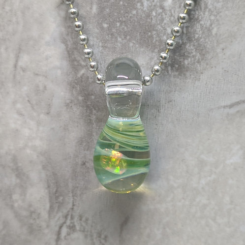 Blue-Green Glass Pendant with Encased Opal Stone