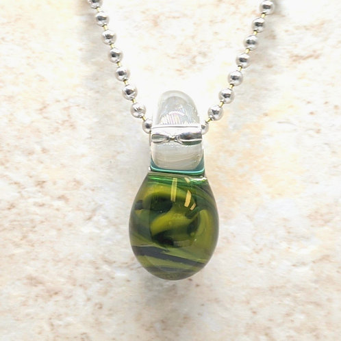 Green Teardrop Shaped Glass Pendant